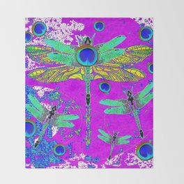 FANTASY DRAGONFLIES DREAMSCAPE PURPLE ART Throw Blanket