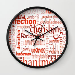 What Is Love Synonyms For Love Word Cloud Wall Clock
