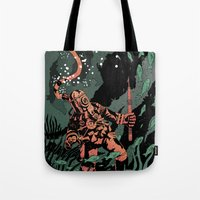 diver Tote Bags featuring Diver by Rafael T. Pimentel