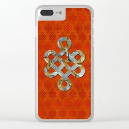 Decorative Marble and Gold Endless Knot symbol Clear iPhone Case
