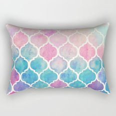Rainbow Pastel Watercolor Moroccan Pattern Rectangular Pillow