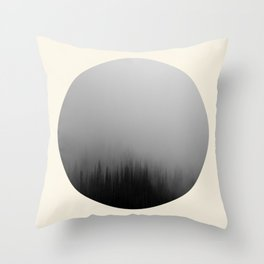 Spooky Foggy Forest Round Photo Throw Pillow