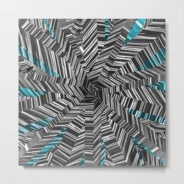 Crazy Blue Zebra Metal Print