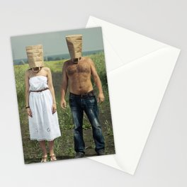 Paper bag couple Stationery Cards