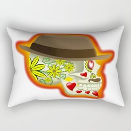 Day of the Dead Skull: Thorny Love Rectangular Pillow