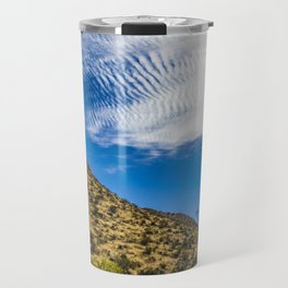 Clouds Stretching Across a Deep Blue Sky in the Anza Borrego Desert, California, USA Travel Mug