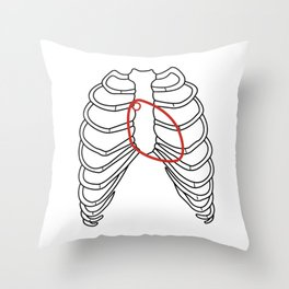 Red heart and ribs Throw Pillow