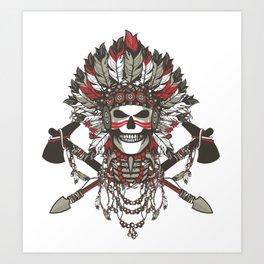 Red Indian Skull Art Print
