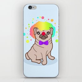 Pug dog in a clown costume iPhone Skin
