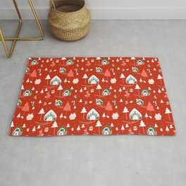 gingerbread house red #Christmas #Holiday Rug