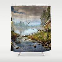 wildlife Shower Curtains featuring Wildlife Landscape by FantasyArtDesigns