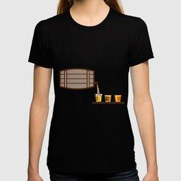 Beer Flight Keg Pouring on Glass Retro T-shirt