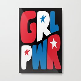 GRL PWR Red, White and Blue Metal Print