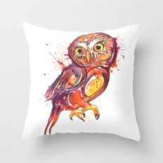 Red Owl Throw Pillow