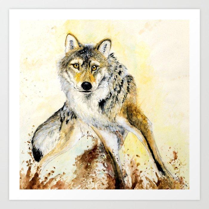 Totem Grey wolf Art Print