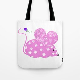 Miss Mousy Pinkie with Purple Petunia Tote Bag
