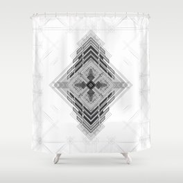 Vigorous and bold fractal geometric shapes with compass symbol Shower Curtain