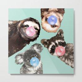 Cute Animals Bubble Gum Gang in Green Metal Print