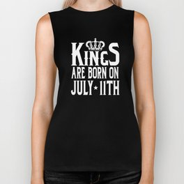 Kings Are Born On July 11th Funny Birthday T-Shirt Biker Tank