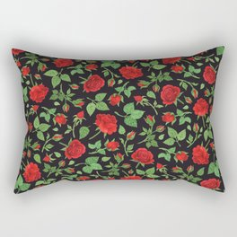 Roses and rose buds in black Rectangular Pillow