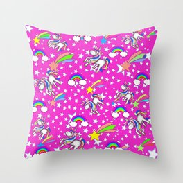 Pink Unicorns And Rainbows Pattern Throw Pillow