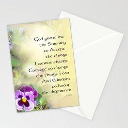 Serenity Prayer Pansies Stationery Cards