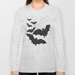 Black Bats with Spider Web Halloween Long Sleeve T-shirt