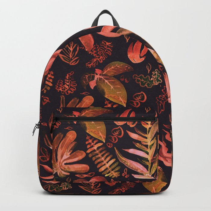 brown watercolor leaves Backpack