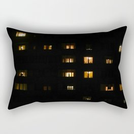 Night landscape facades and windows of houses in the city Rectangular Pillow