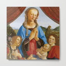 """Andrea del Verrocchio """"The Virgin And Child With Two Angels"""" Metal Print"""