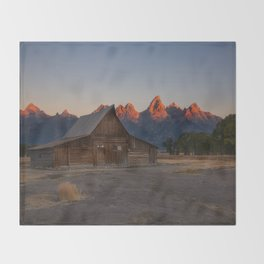 Moulton Barn - Sunrise in Grand Tetons Throw Blanket