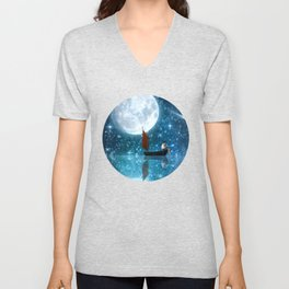 The Moon and Me v2 Unisex V-Neck