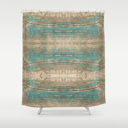Rustic Wood - Beautiful Weathered Wooden Plank - knotty wood weathered turquoise paint Shower Curtain