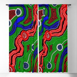 Authentic Aboriginal Art -The Inland Rail 2 Blackout Curtain