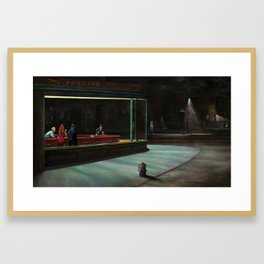 Nighthawks (oil on canvas) Framed Art Print