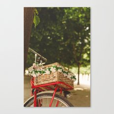 Spring red bike Canvas Print