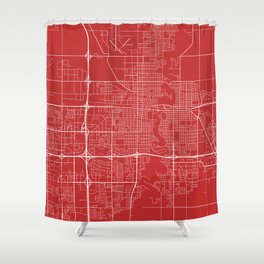Fargo Map, USA - Red Shower Curtain