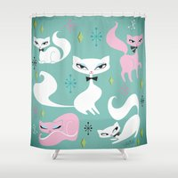 kittens Shower Curtains featuring Swanky Kittens by Miss Fluff
