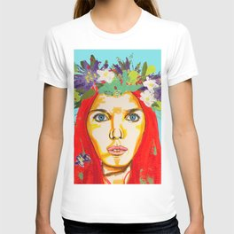 Red haired girl with flowers in her hair T-shirt