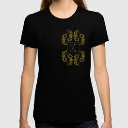 letter K seahorse monogram T-shirt