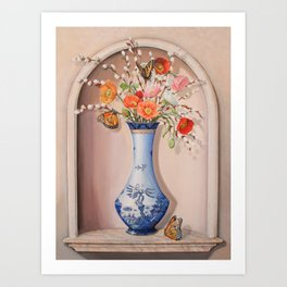 Blue Willow Niche with Flowers Art Print