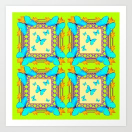 Southwestern  Lime & Turquoise Butterflies Gold Patterns Art Art Print