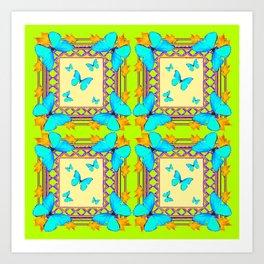 Southwestern  Lime & Turquoise Butterflies Gold Patterns Art Art Print