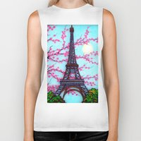 eiffel tower Biker Tanks featuring Eiffel Tower by ArtLovePassion