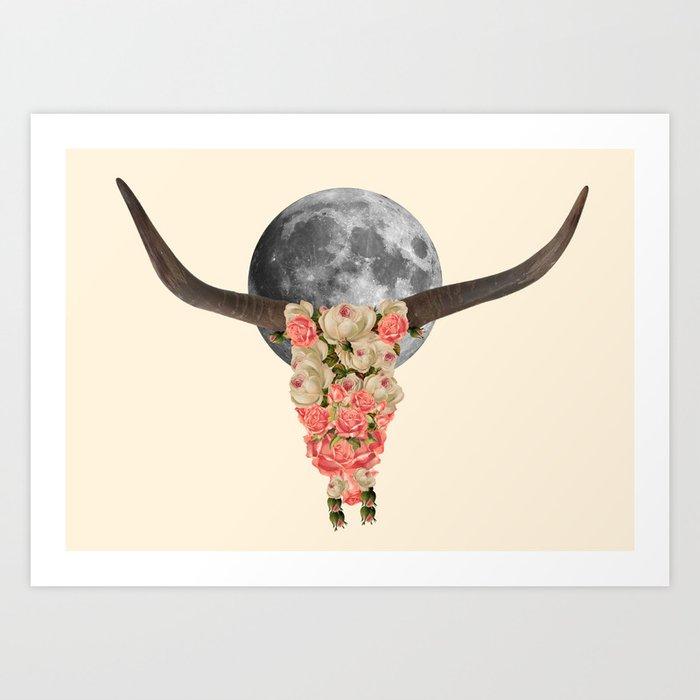 boho bull skull art print by kikicastel society6