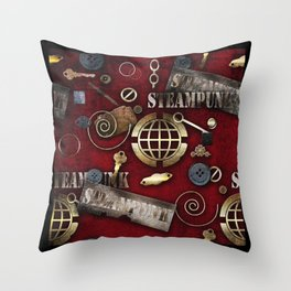 Steampunk red background Throw Pillow