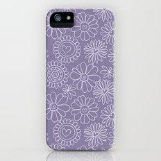 Violet doodle floral pattern iPhone SE Slim Case