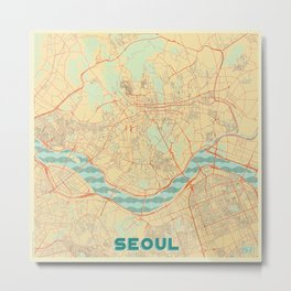 Seoul Map Retro Metal Print