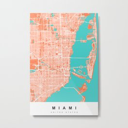 Miami Map | Coral & Turquoise | More Colors, Review My Collections Metal Print