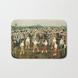 Vintage Boxing Painting - Folk Art Bath Mat